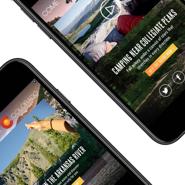 'Come to life Colorado' digital advertisement on an iPhone.