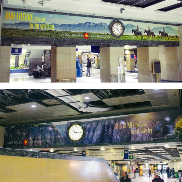 "'Come to Life Colorado' wall wraps featuring horseback riders and the words, ""Our future has yet to be written."""