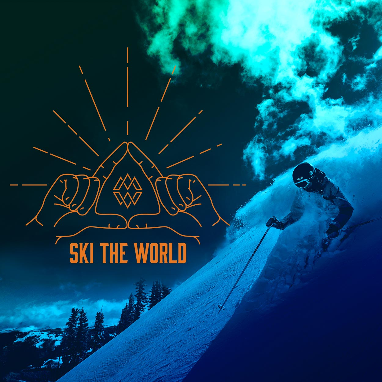 Highway billboard for the Mountain Collective featuring a blue skier going downhill.