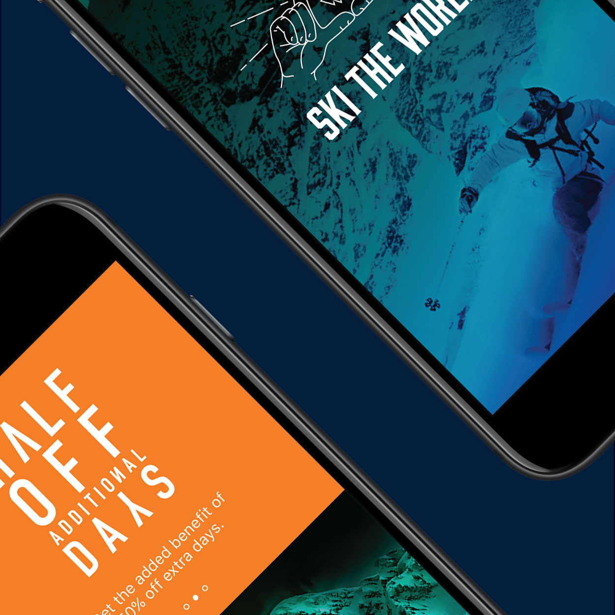 Mountain collective advertisements shown on two mobile phones.