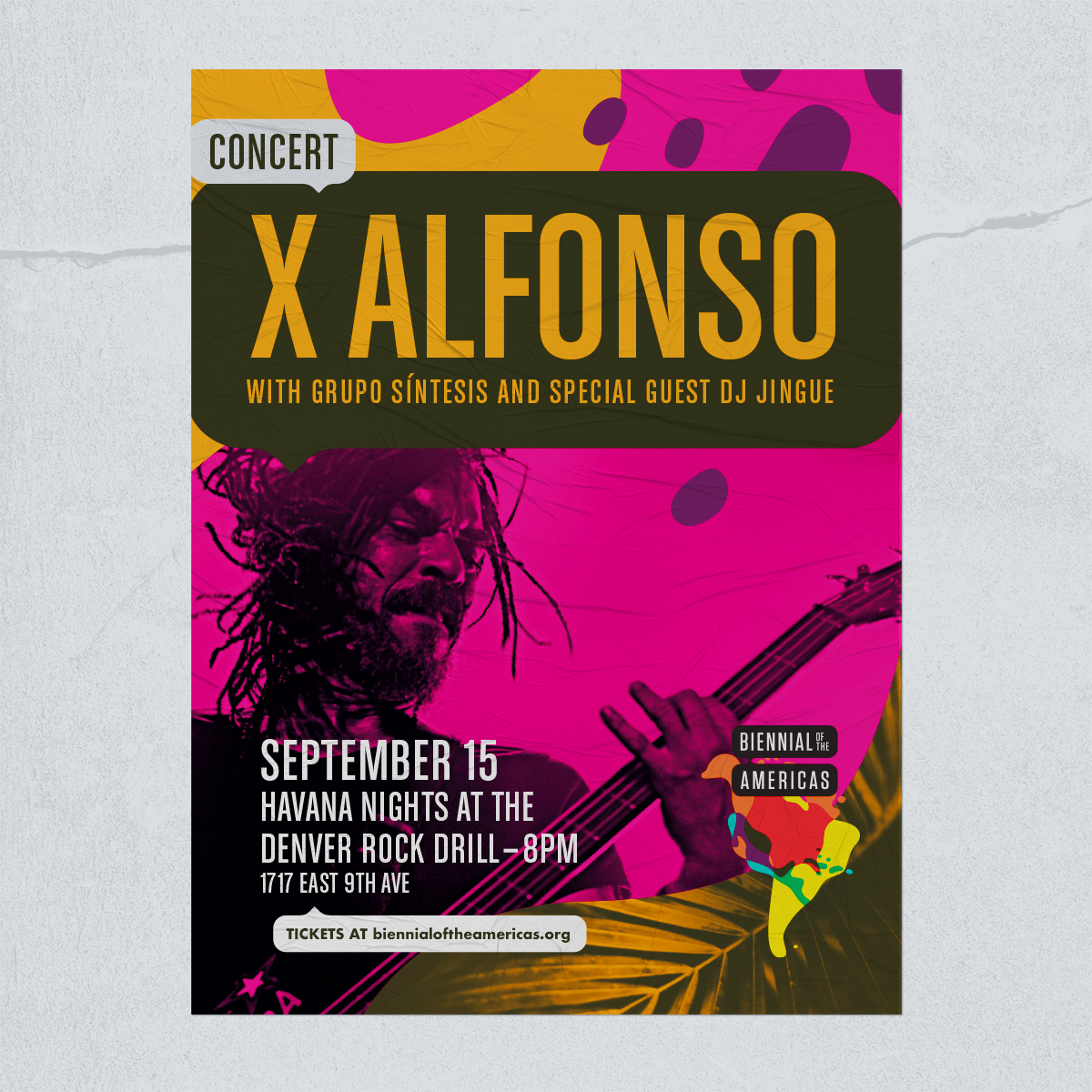 Poster for a concert featuring the musician, X Alfonso.