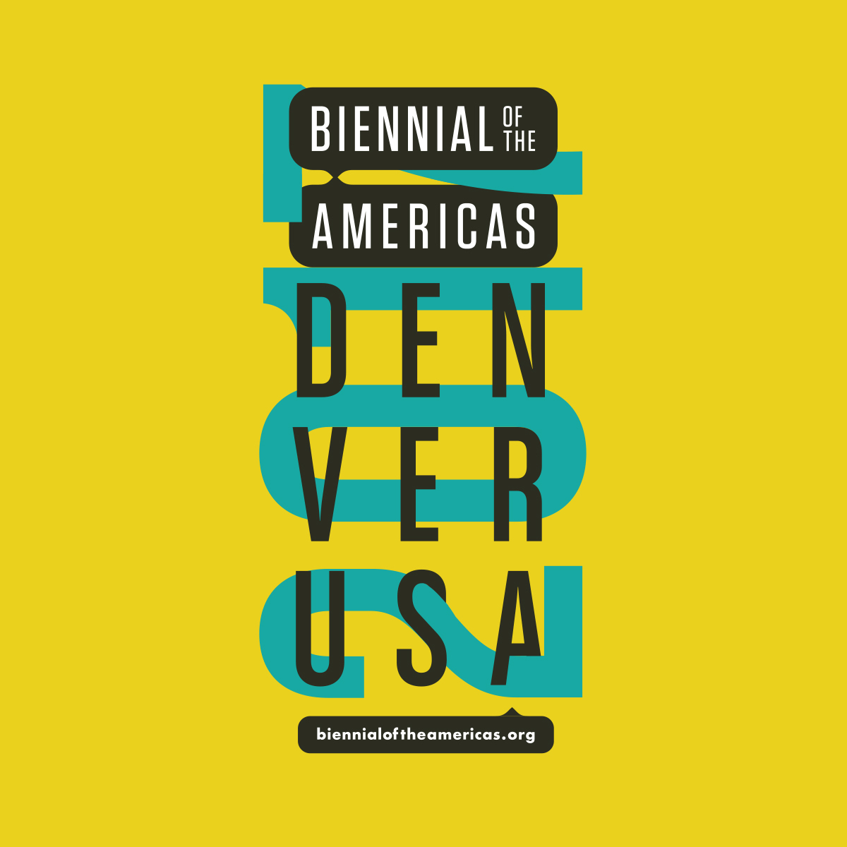"Stylized typography saying, ""Biennial of the Americas. Denver USA. 2017."""