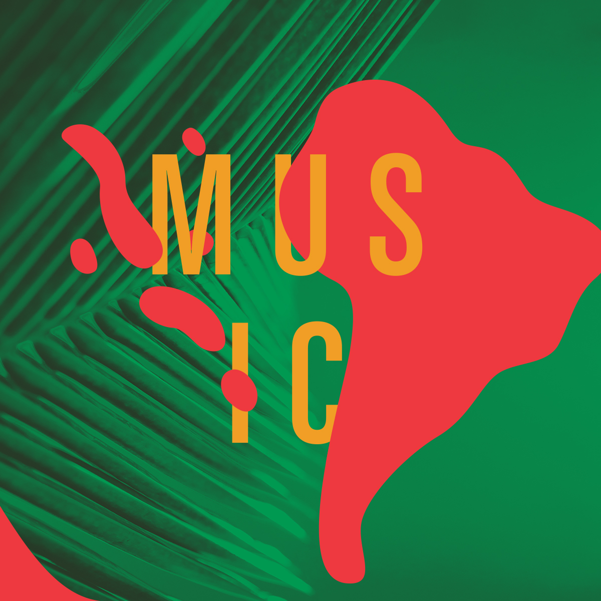 "Irregular shapes of color overlaid on a stylized photograph of leaves, with the word ""Music."""