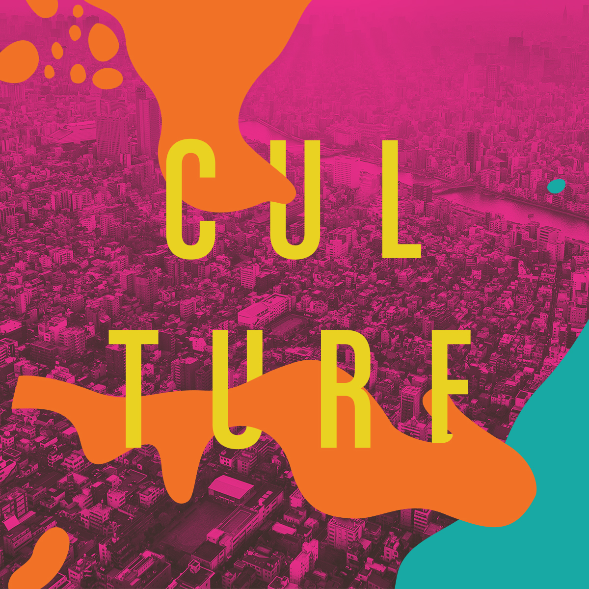 "Irregular shapes of orange overlaid on a stylized arial photograph of a city, with the word ""Culture."""