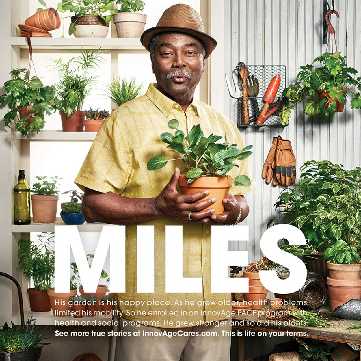 Print advertisement featuring a older man surrounded by plants.