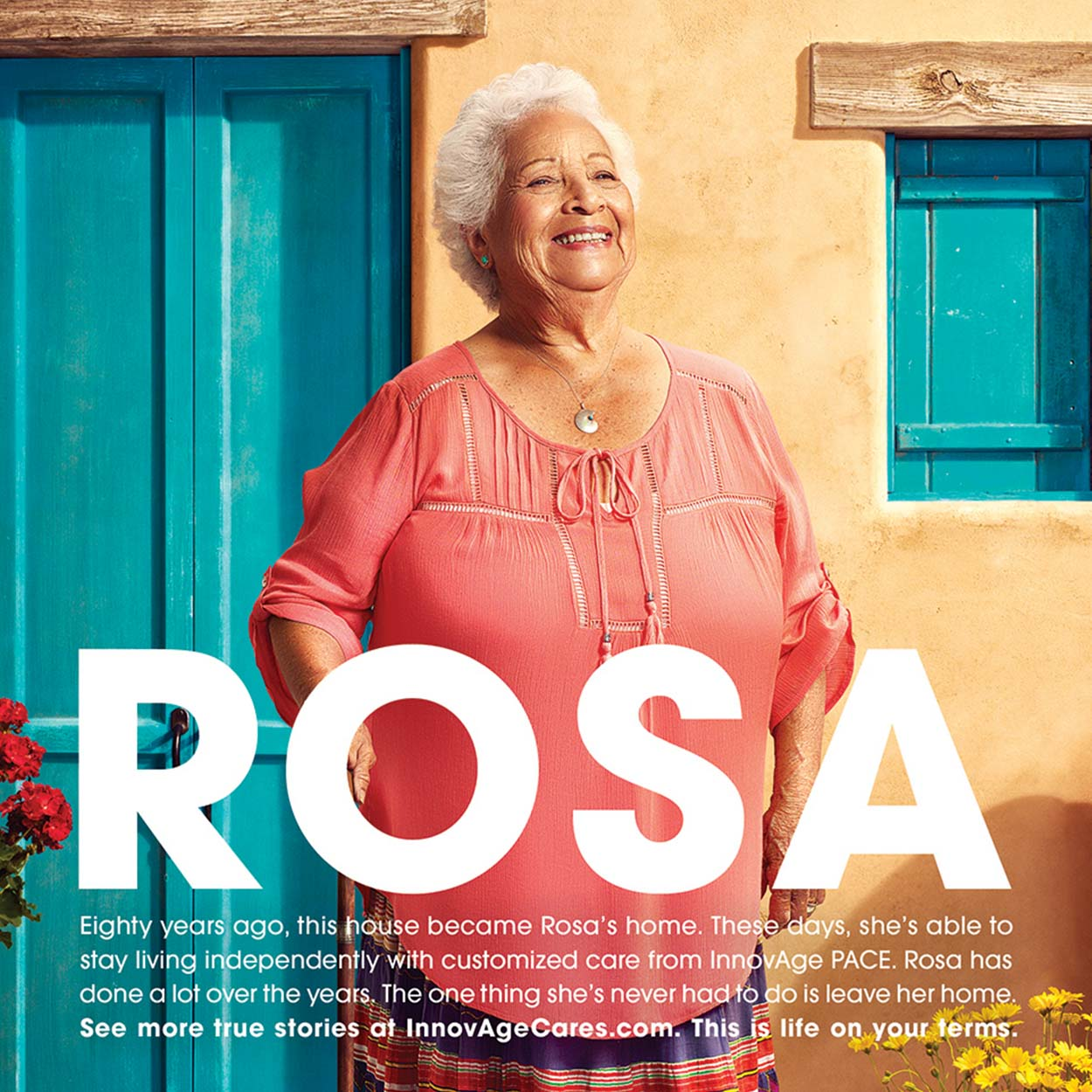 Print advertisement of a older women standing in front of a southwestern style building surround by flowers and plants.