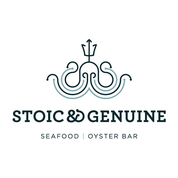 "Illustrated Stoic & Genuine logo with the words ""Seafood, Oyster Bar."""