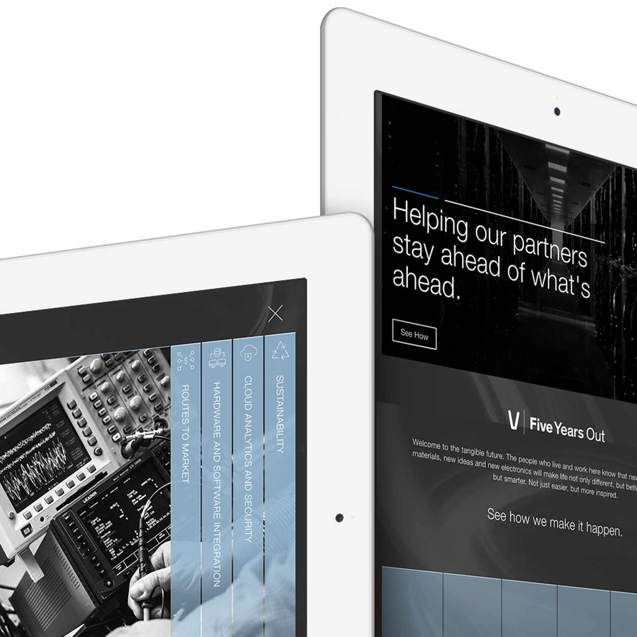 The Five Years Out website displayed across two iPads.