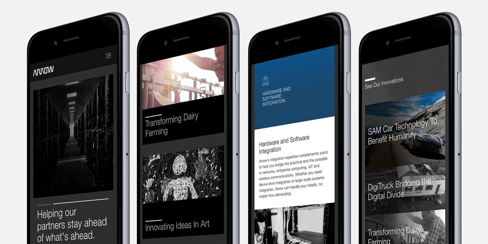 The Five Years Out website displayed across four iPhones.