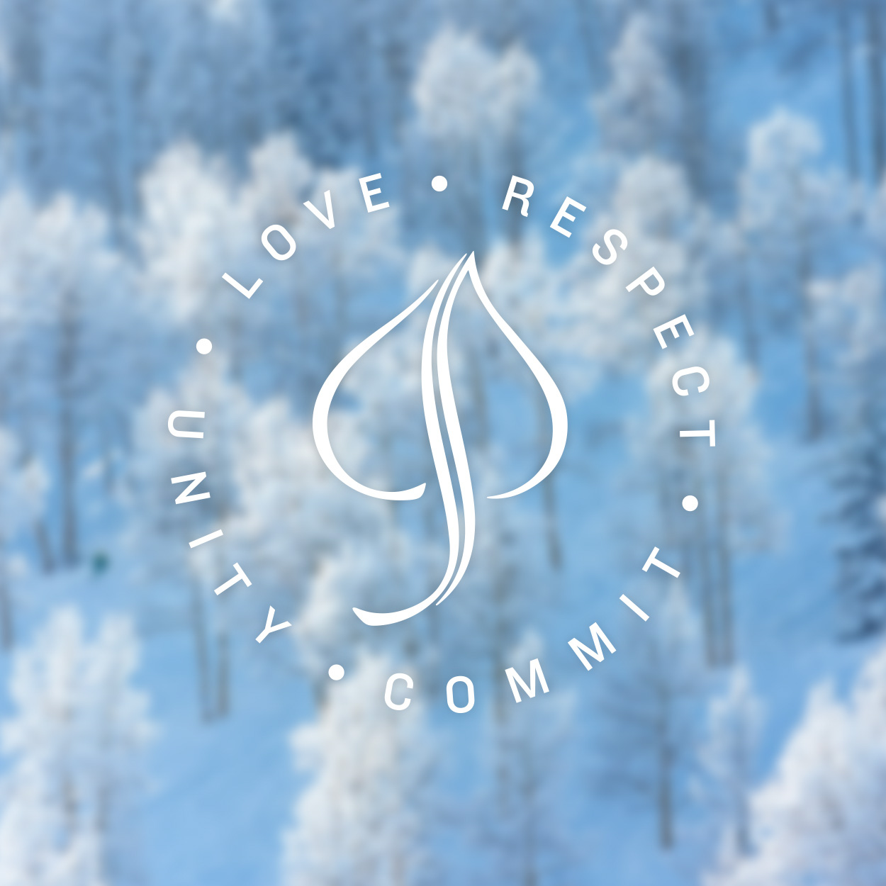 "Stylized Aspen logo with the words, ""Love, Respect, Commit, Unity."""