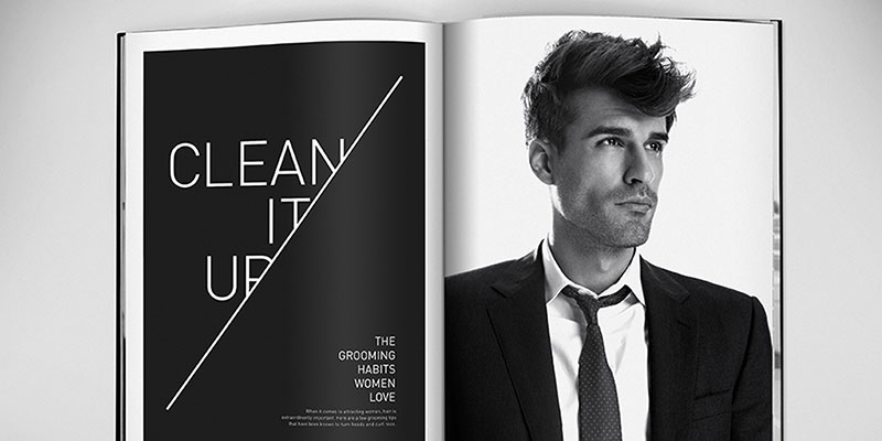 "Magazine advertisement featuring a man in a casual suit with great hair, and the words, ""Clean it up."""
