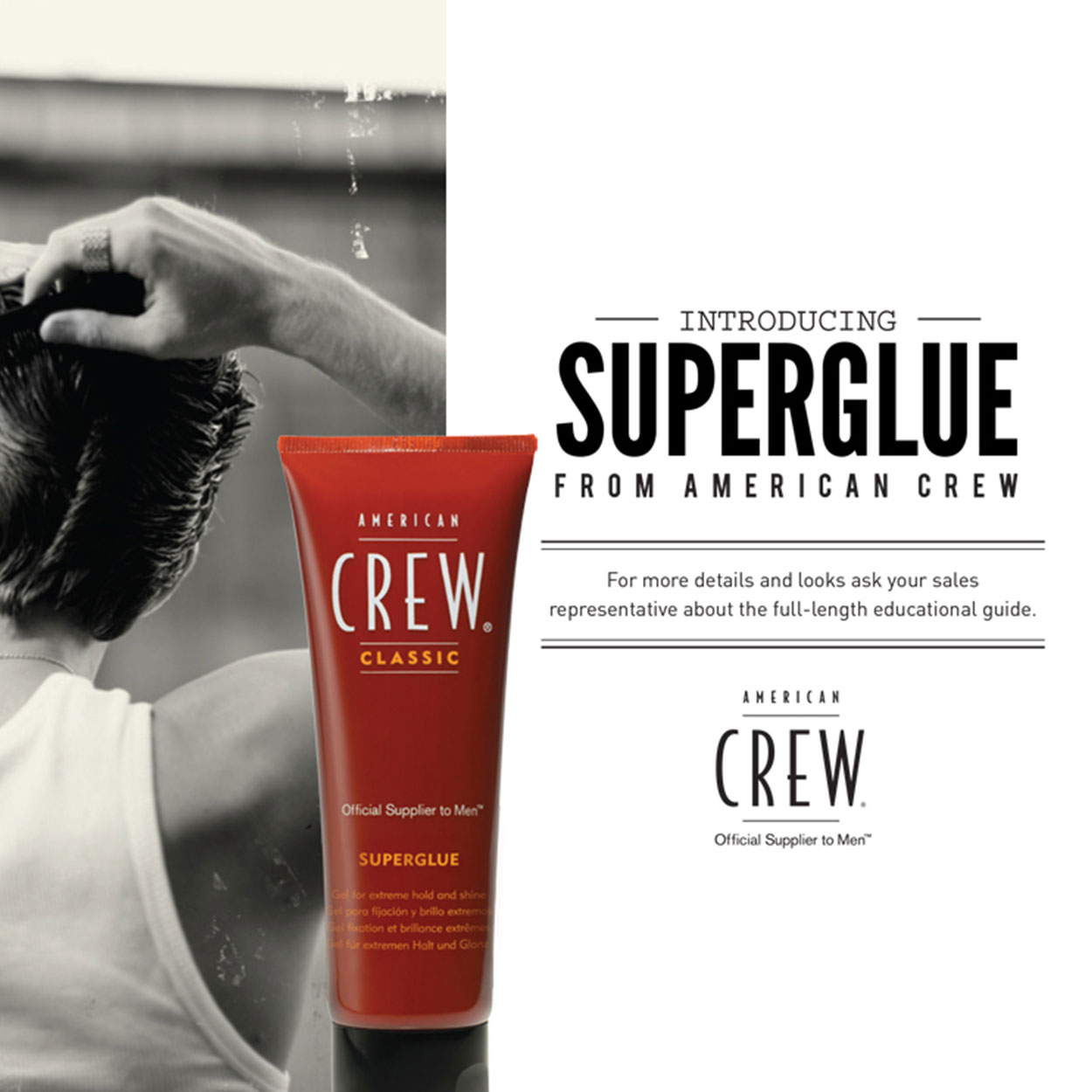 "Rear shot of a man combing his hair with the words ""Introducing Superglue."""