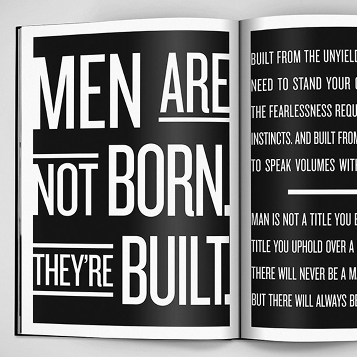 "Magazine advertisement with stylized typography titled ""Men are not born. They're built."""