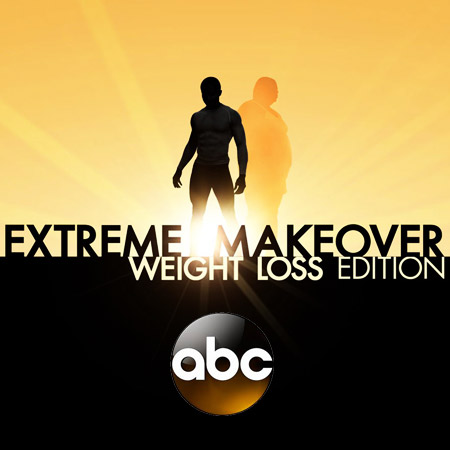"Image of the sun shinning past a silhouette of a man, with the words, ""Extreme Makeover, Weight loss edition, on ABC."""