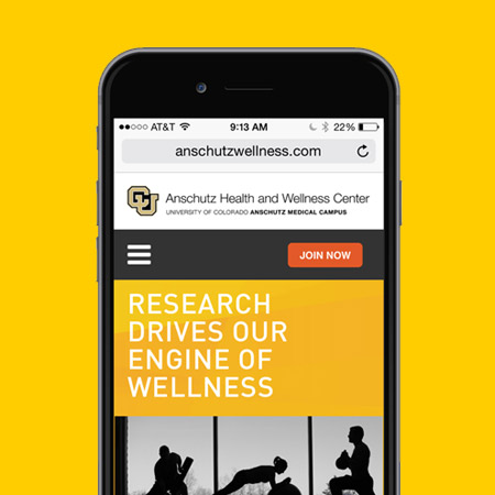 "Website sample featuring a women stretching and the words, ""Research drives our engine of wellness."""