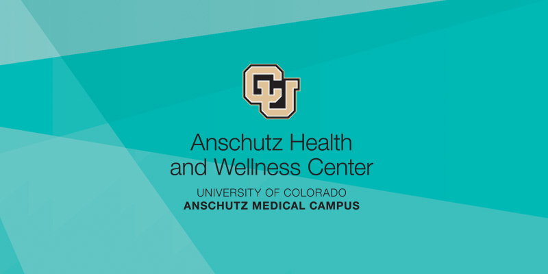 Angled, colored lines overlaid with the Anschutz Health and Wellness Center logo.