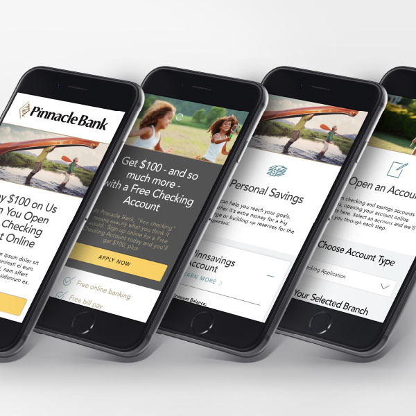 Different pages of the Pinnacle Bank website shown on four mobile phones.
