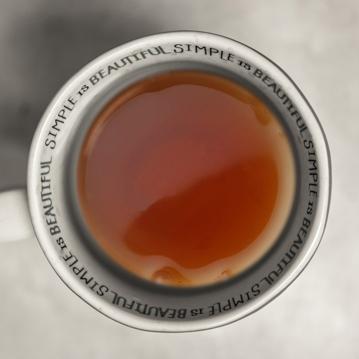 Top down shot of a cup of tea.