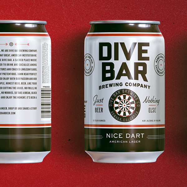 360 degree shot of the Dive Bar Beer can packaging featuring a dart board and creative typography.