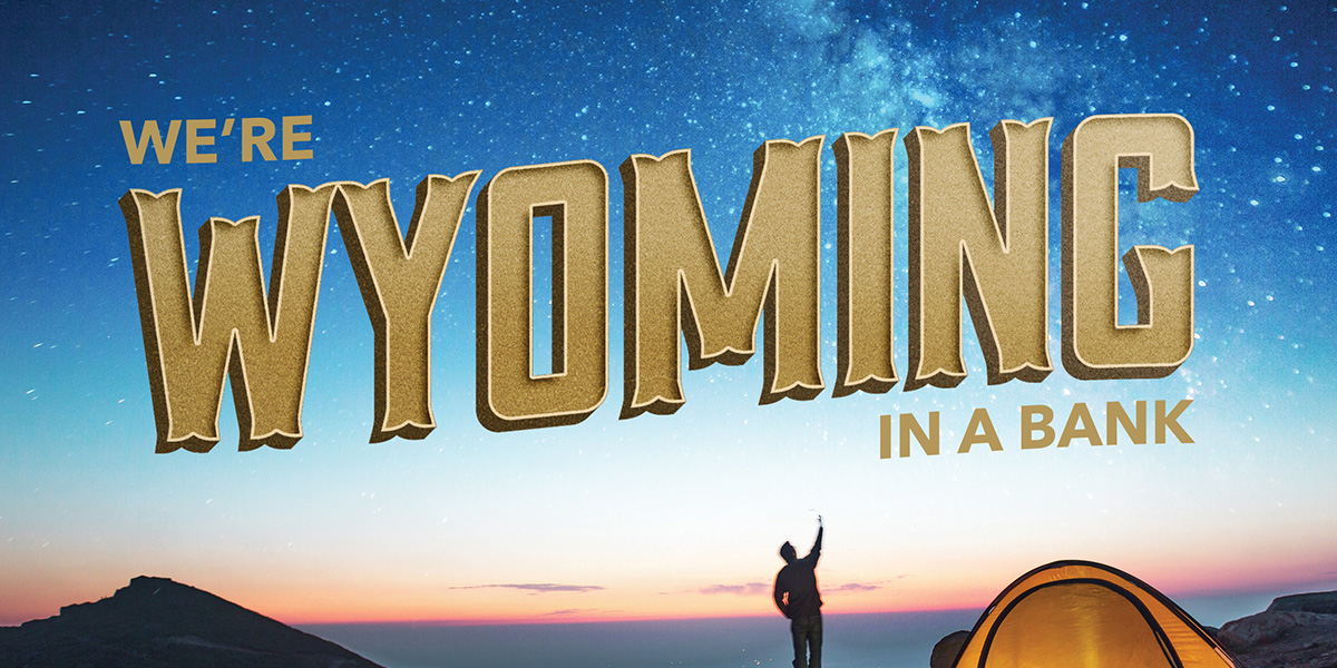 "Outdoor camping scene with a man pointing up at the starry sky, with the words, ""We're Wyoming in a bank."""