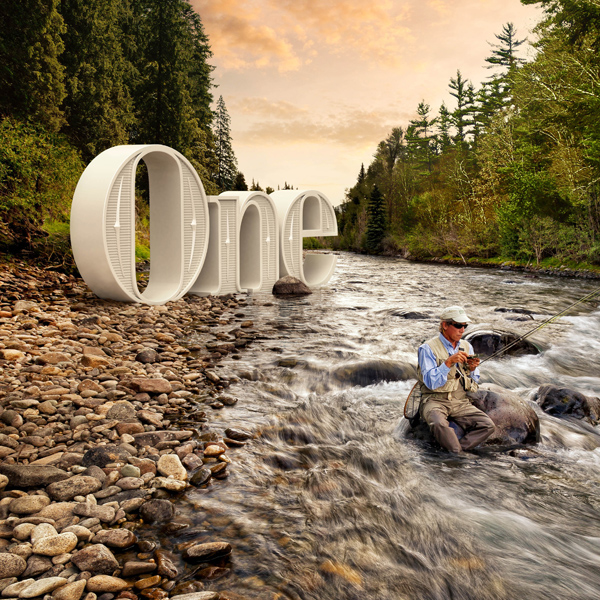 "Forest scene of a man sitting in a stream fishing, large 3D letters on the shore spell the word ""One."""