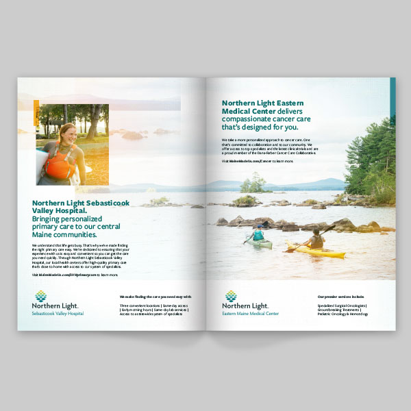 Case study artboards for Northern Light Health