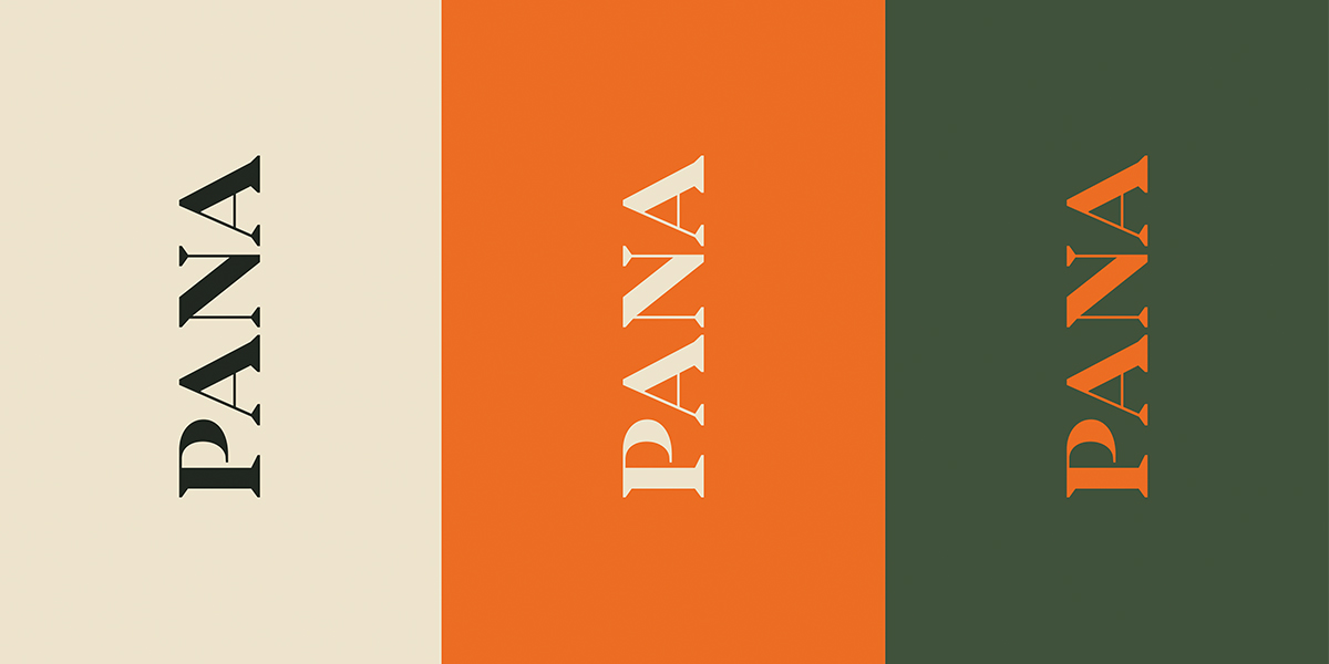 Three Panacea logos in different colors arranged horizontally.