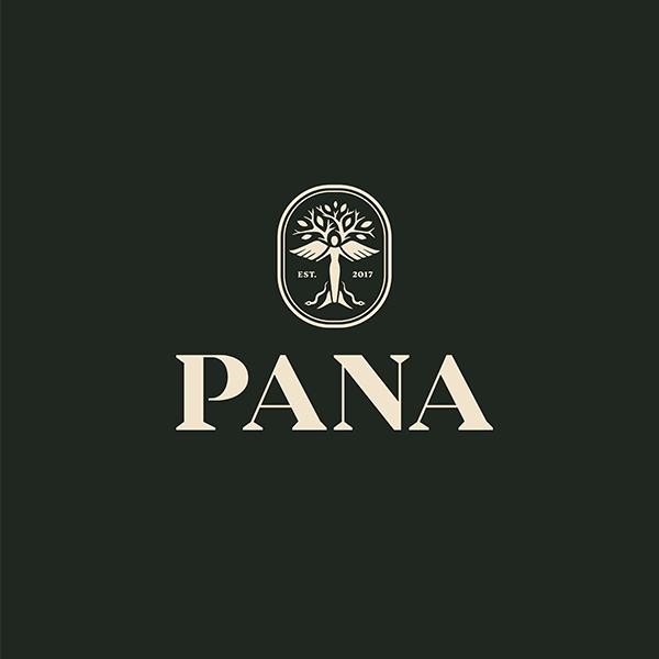 Olive green logo with Pana wordmark and logo of Panacea, the Goddess of Healing.