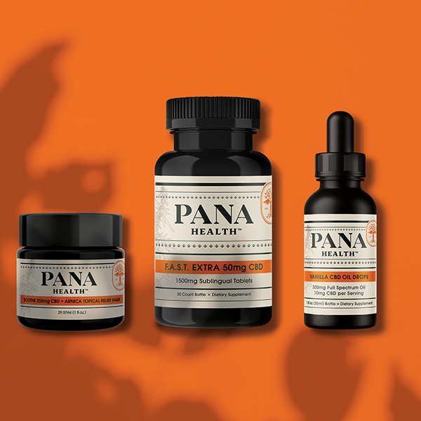 Macro image of Panacea's CBD products for pets with bright orange product wrappers.