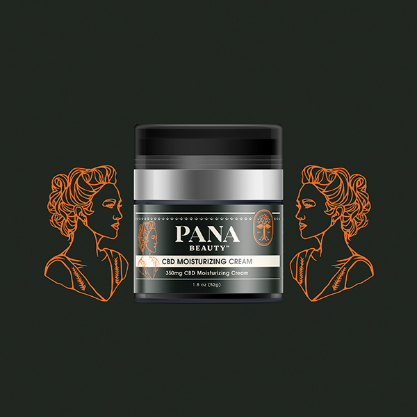 Macro image of Panacea's CBD Beauty Cream with drawings of classically beautiful women.