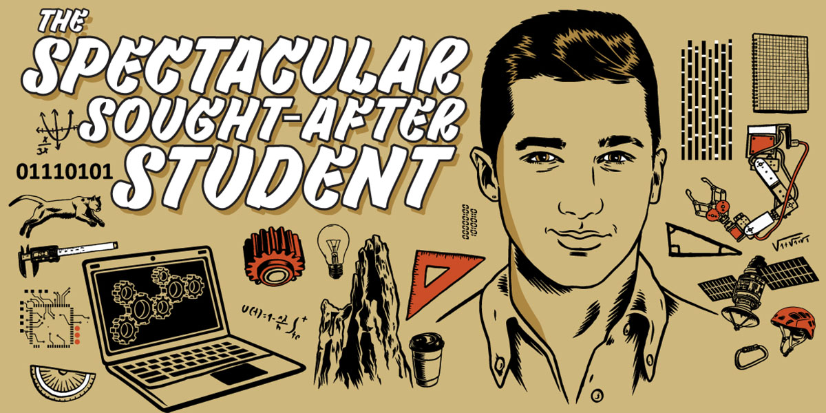 "Illustrated poster with many sciencey objects, an inspired student, and the words, ""The Spectacular Sought-after Student."""