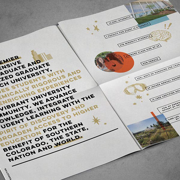 The interior pages of a UCCS pamphlet featuring highly stylized typography and illustration.