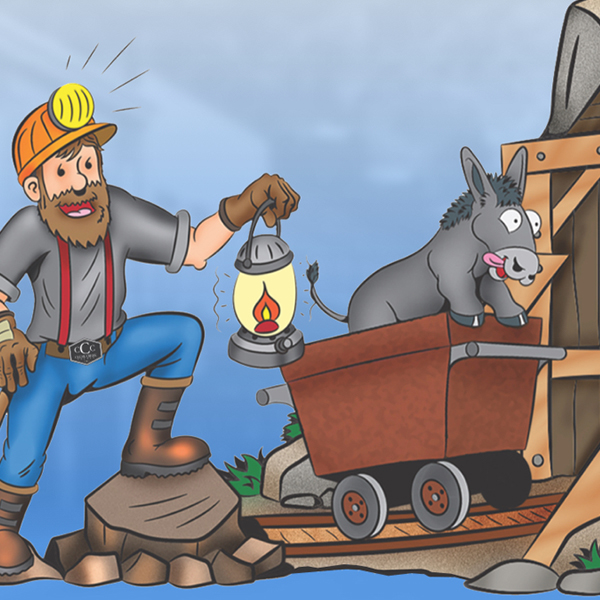 """A cartoon old-timey miner at the entrance to a mine, saying """"Thank You! Your personalized itinerary has been sent."""