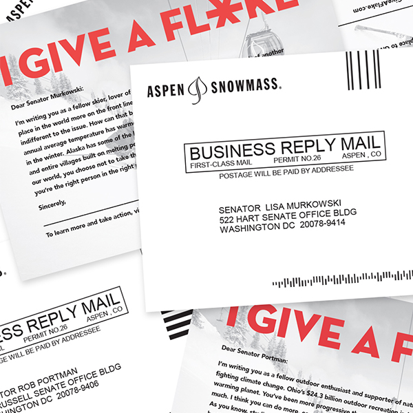 "Closeup of the ""I give a Flake"" mailer addressed to Senator Murkowski."