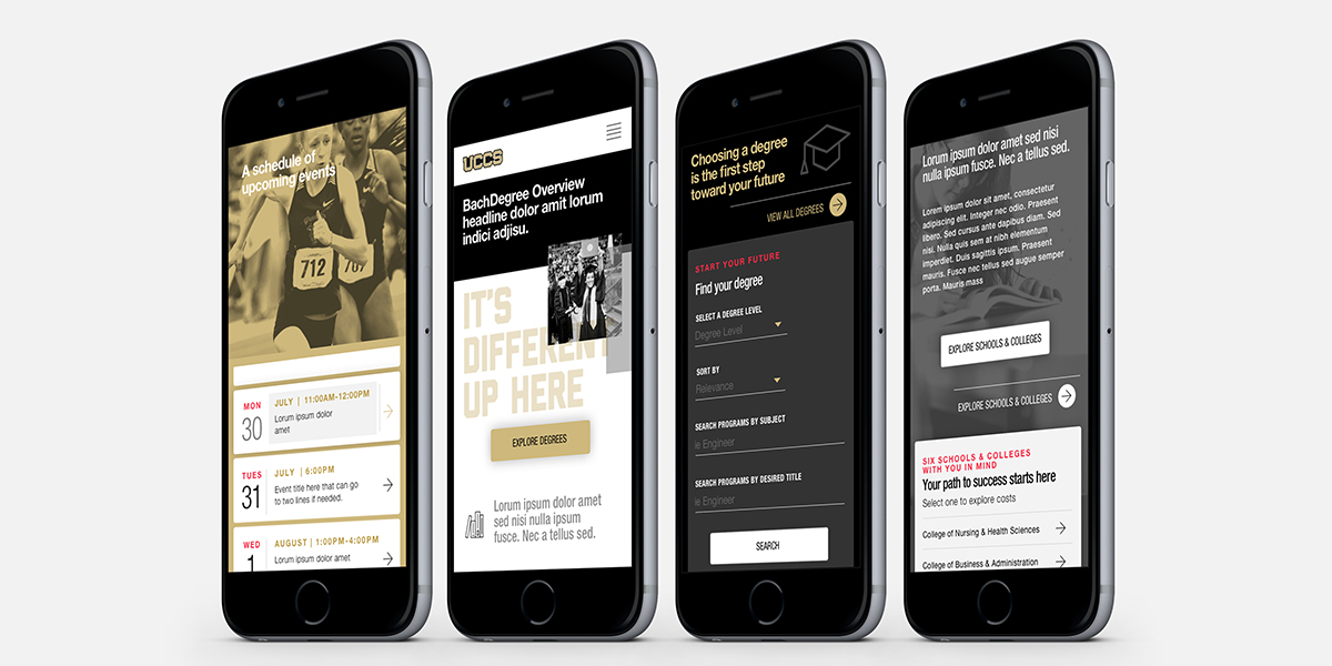 UCCS website shown on four mobile phones.