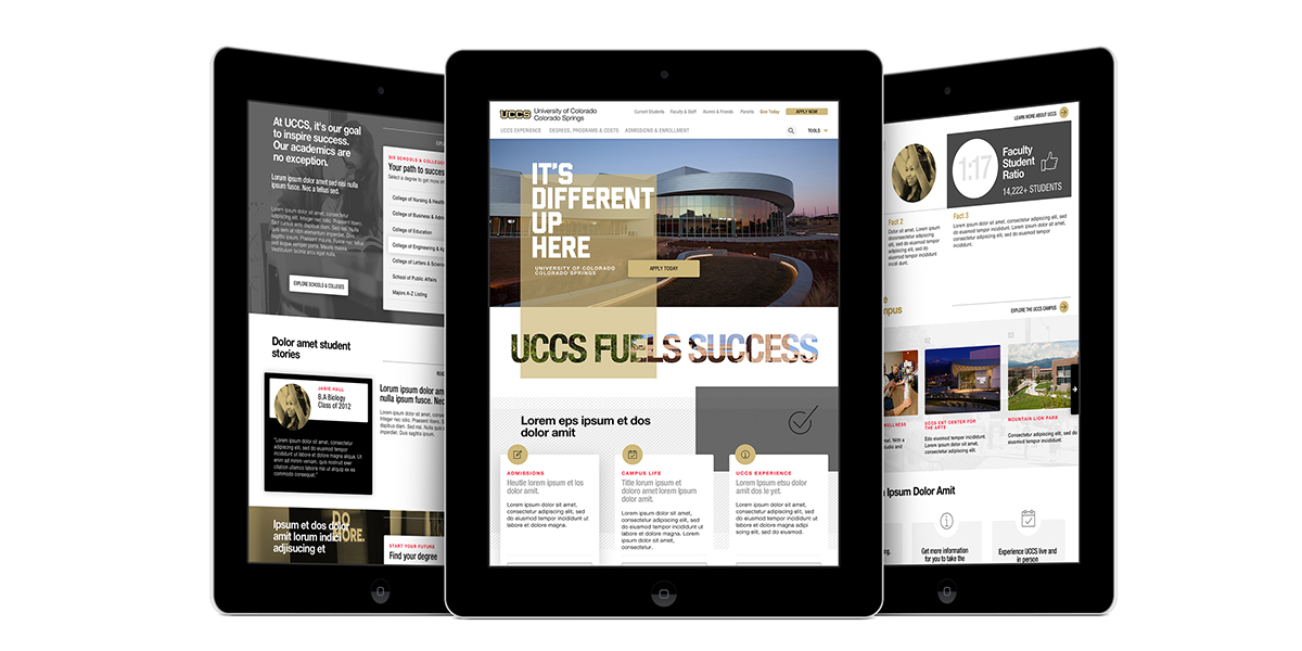 The UCCS website shown on three iPads.