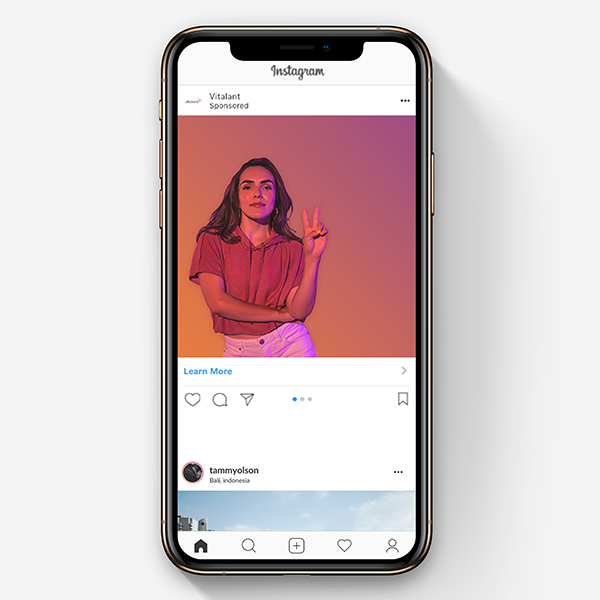 Instagram ads showcasing we are vital campaign imagery on purple and orange gradients
