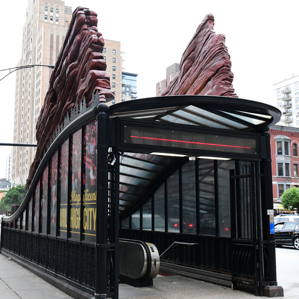 Various bus and train station head house designs in Chicago depicting Denver attractions