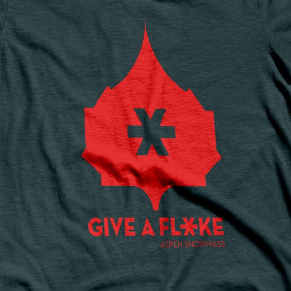 "T-shirts featuring the ""Give a Flake"" logo."