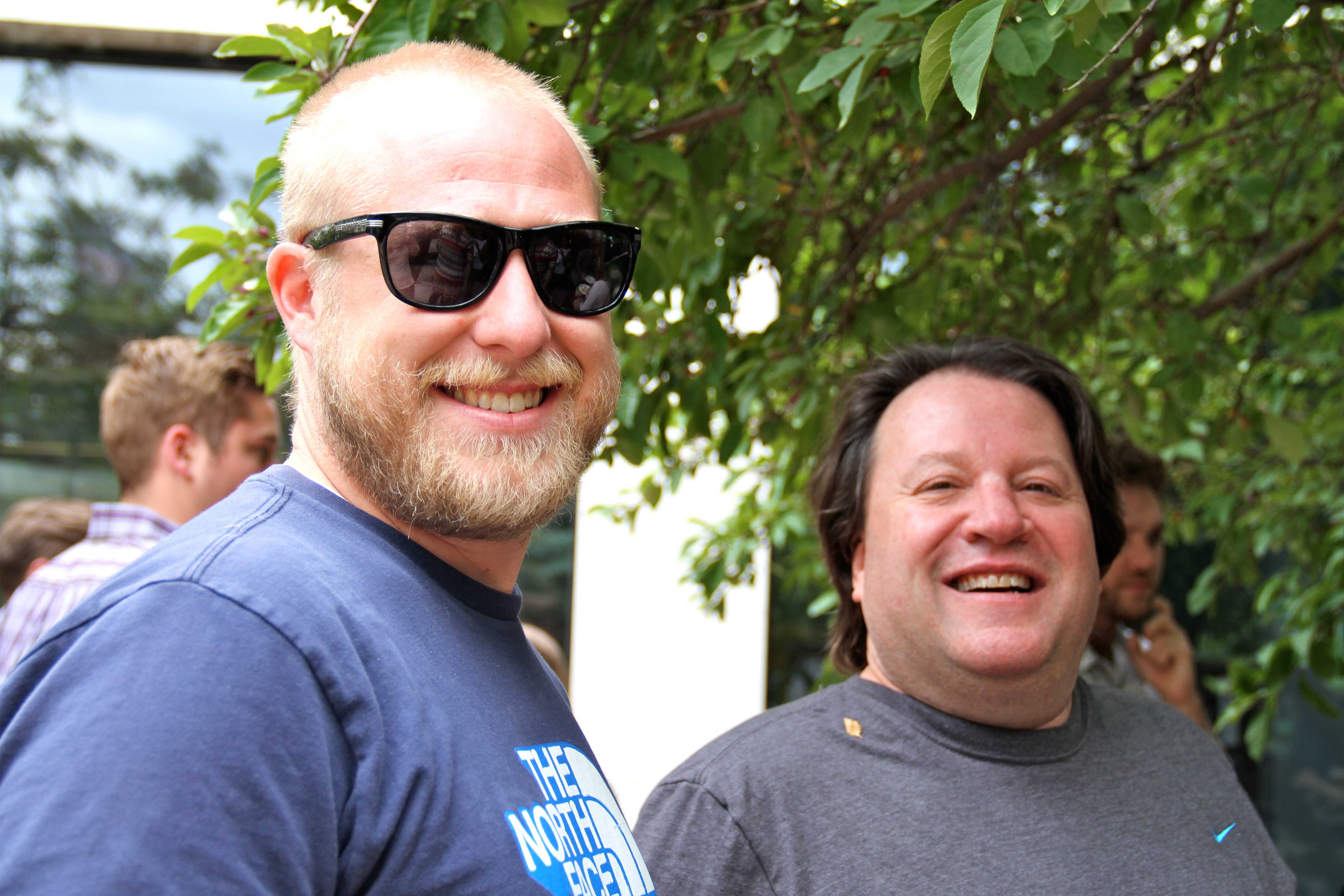 Adam and Tommy mingling at the salsa-taste-off patio party